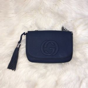 NEW GUCCI soho leather disco bag in blue